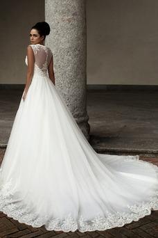 Robe de mariée Appliques Traîne Royal Taille Naturel Zip A-ligne Sans Manches