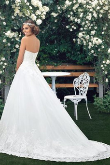 Robe de mariée Formelle Appliques Sablier A-ligne Longue Sans Manches