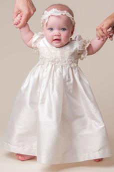Robe cérémonie fille Princesse Taille Naturel Petites Tailles Satin Appliques