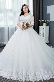 Robe de mariée Taille Naturel Sablier A-ligne Col en V Traîne Longue