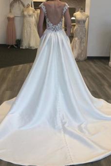 Robe de mariée Triangle Inversé A-ligne Col Bateau Hiver Taille Naturel