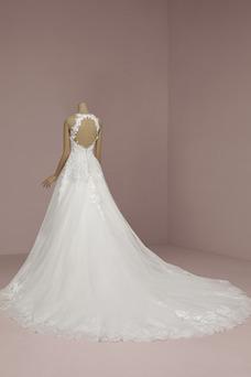 Robe de mariée Licou Été Elégant Couvert de Dentelle A-ligne Zip