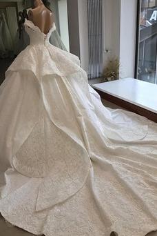Robe de mariée Lacet Appliques Taille Naturel Hiver Mancheron Satin