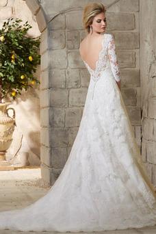 Robe de mariée Tissu Dentelle Col Bateau Longue Taille Naturel Manche Aérienne