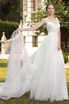 Robe de mariée Tulle Longue Printemps Taille Naturel Mancheron Haute Couvert