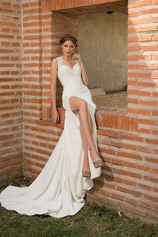 Robe de mariée Tissu Dentelle Appliques Zip Sans Manches Col Élisabéthain