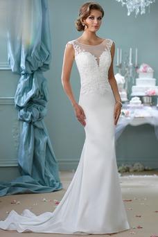 Robe de mariée Manche Courte Mancheron Elégant Traîne Mi-longue Perle
