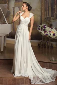 Robe de mariée Manche Courte Longue Lacet Taille Naturel Mousseline