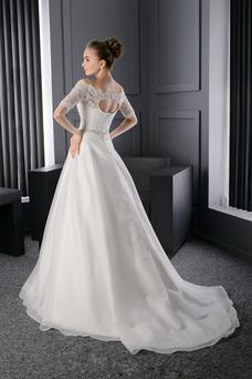 Robe de mariée Tissu Dentelle Épaule Dégagée Trou De Serrure Printemps