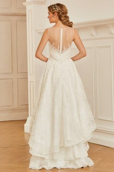 Robe de mariée Plage Asymétrique Plissé Taille Naturel Multi Couche
