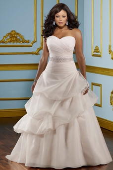 Robe de mariée Ivoire Grandes Tailles Longueur ras du Sol Sans Manches