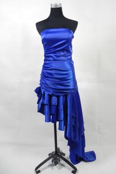 Robe de cocktail Bustier Traîne Courte Zip Bleu royal Sans Manches Sablier
