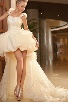 Robe de mariée Plage Perle Printemps Zip Courte devant longue derriere