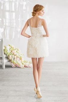 Robe de mariée Gradins Col Bateau Glamour Taille Naturel Sans Manches