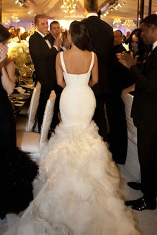 Robe de mariée Automne Longue Salle Sirène Organza Bretelles Spaghetti