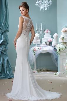 Robe de mariée Sirène Sans Manches Modeste Été Mousseline Perle