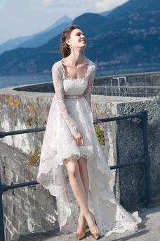 Robe de mariée Asymétrique Tissu Dentelle Col Carré Dentelle Lacet
