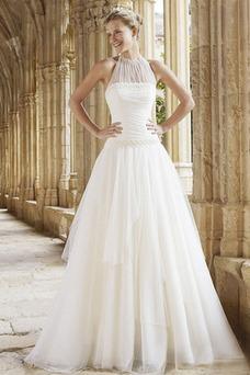 Robe de mariée Tulle Ruché Sans Manches A-ligne De plein air Traîne Courte