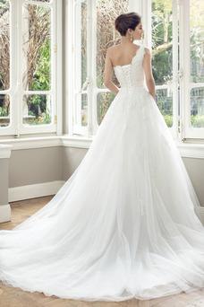 Robe de mariée Tulle Sans Manches Classe Haut Bas Lacet Taille Naturel