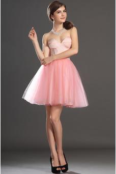 Robe de bal Col en Cœur Tulle Princesse Taille Naturel Perle rose