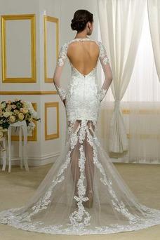 Robe de mariée Sirène Col Élisabéthain Zip Taille Naturel Traîne Courte