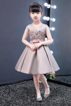 Robe cérémonie fille Orné de Rosette Zip Taille Naturel Sans Manches Fleurs