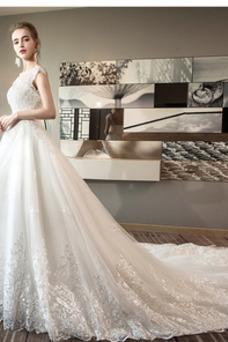 Robe de mariée Dos nu A-ligne Perle Salle Tulle Col en V