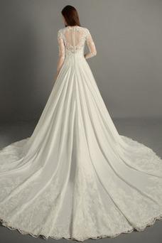 Robe de mariée Dos nu Satin A-ligne Perles Taille Naturel Col en V