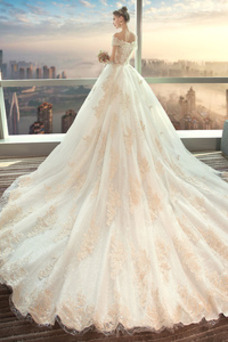 Robe de mariée Hiver Couvert de Dentelle Mancheron Manche Courte A-ligne