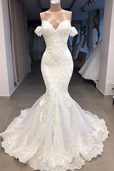 Robe de mariée Sirène Salle Couvert de Dentelle Dos nu Satin Mince