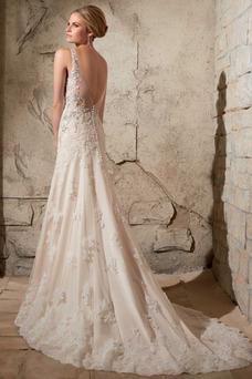 Robe de mariée Chic Col Bateau Appliques Sirène De plein air Milieu