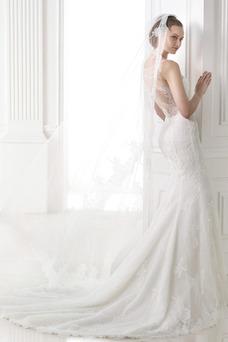 Robe de mariée Sirène Tissu Dentelle Zip Col en V Printemps Taille Naturel