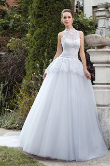 Robe de mariée Col haut Taille chute De plein air Sans Manches A-ligne