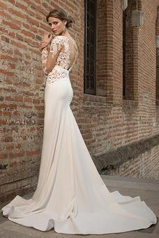Robe de mariée Longue Trou De Serrure Fourreau Satin Élastique Col en V