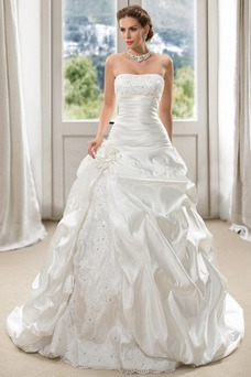 Robe de mariée Sans Manches Traîne Mi-longue Ample & Ornée Taffetas