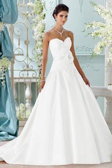 Robe de mariée Sans Manches Traîne Longue Fleurs Satin Automne Formelle