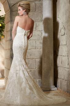 Robe de mariée Col en Cœur Taille Naturel Tissu Dentelle Traîne Mi-longue