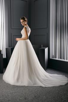 Robe de mariée Formelle Perles Lacet Taille Naturel Salle Mode de Bal