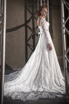 Robe de mariée Taille Naturel Printemps Traîne Mi-longue Col U Profond