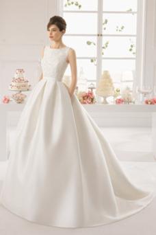 Robe de mariée Sans Manches Taille Naturel Salle Printemps Chic Satin
