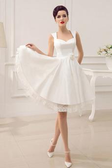 Robe de mariée Plage A-ligne Taille Naturel Sans Manches Satin Longueur Genou