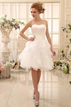 Robe de mariée Dos nu Longueur Genou Glamour A-ligne Taille Naturel