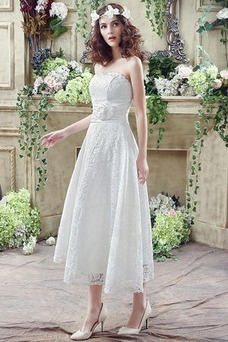 Robe de mariée Dos nu Triangle Inversé De plein air Simple Longueur Mollet