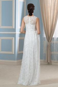 Robe de mariée Elégant Orné de Nœud à Boucle Sans Manches Gaze Longueur ras du Sol