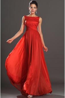 Robe de soirée Mousseline Mince Zip Longueur ras du Sol Long Rouge