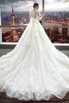 Robe de mariée Manche Aérienne Taille Naturel A-ligne Lacet Traîne Royal