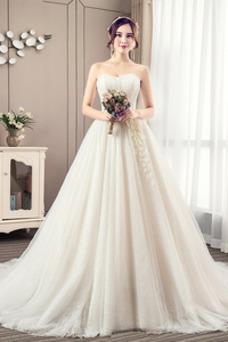 Robe de mariée Tulle Sans Manches De plein air Appliques Elégant Bustier