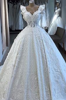 Robe de mariée Tissu Dentelle Taille Naturel Manquant Automne Sans Manches