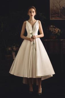 Robe de mariée Asymétrique Nœud à Boucles Dos nu Manquant Taille Naturel