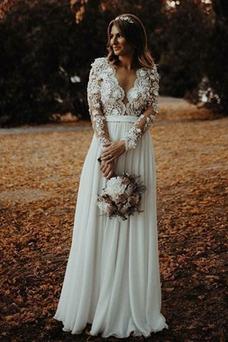 Robe de mariée Sexy Manquant Zip Manche Longue A-ligne Perspectif